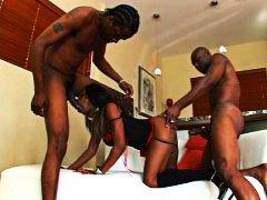 групов секс, африканки, на лицето, трио, анално