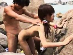 japanese, slut, outdoor, blowjob, hairy, doggystyle, small tits, beach, sucking, skinny
