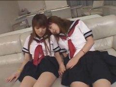 униформа, момичета, японки, дилдо, игра, лесбийки