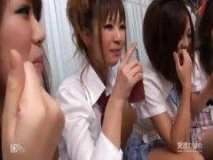 ansiktsprut, japansk, grupp, orgie, hårig, hårdporr, kuk, tjej, avsugning