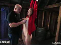 from, gets, fingering, man, bald, bondage, redhead, fingers, spanking, orgasm