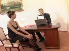 thigh, thigh high, nerdy, brunette, hardcore, stockings, blowjob, fucking, secretary, skinny