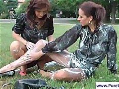 lesbisch, girl, nass, draußen, brünette, milf