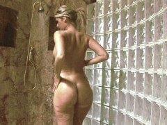 dusche, schön, blond