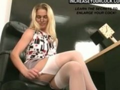 blond, amateur, close-up, heels, secretary, blonde, solo, masturbation, pussy, toys