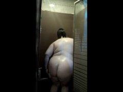 dusche, große dicke frauen, große brüste