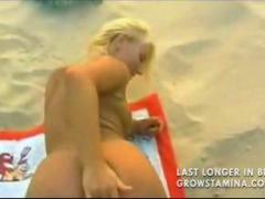 fucked, on, cumshot, blonde, cream pie, nude, beach, facial