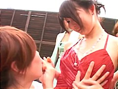 момичета, басейн, лесбийки, японки