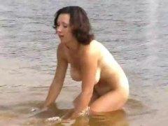 публично, забавни, брюнетки, плаж, сред природата