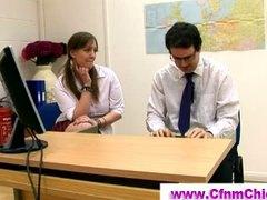 офис, европейки, фетиш, жена гол мъж, унижение