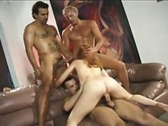 redhead, sex, cumshot, blowjob, gangbang, foursome, anal, facial