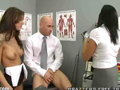 ffm, doctor, threesome, pornstar, busty, nurse