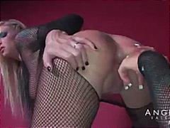 Angelina Valentine, round-ass, pussy-licking, angelina valentine, dildo, heels, tattoo, babe