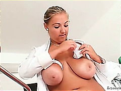 cervix, bbw, chubby, pussy, spreading, busty, fingering, uniform, stockings, plump