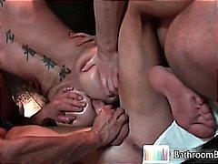 bathroom, stud, oil, hunk, hardcore, massage, rubbing, groupsex, gayporn, orgy