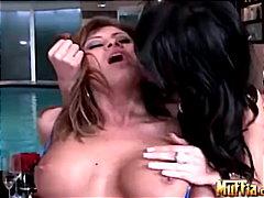 pornstar, masturbation, pool, kissing, caucasian, lesbian, brunette, shaved, bikini