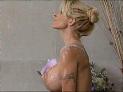 blond, reif, cumshot, große brüste, dusche, blowjob, milf