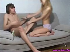 teen, girl, couch, ungezogen, blowjob
