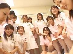 japansk, hårdporr, rasblandat, grupp, uniform, hårig, fetisch, sjuksköterska, asiatiska