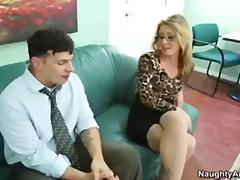офис, блондинки, чорапи, малки цици, очила, шеф
