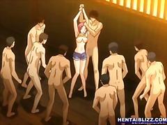 anime, hentai, ngentot keroyokan, grup, campur cewek cowok