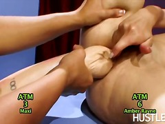 huge-dildo, hand-job, girl-on-girl, naked, hardcore, tina toy, lesbian, chick, big-tits, gets