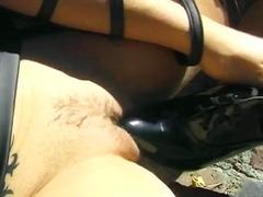 сред природата, мастурбация, кожа, чорапи