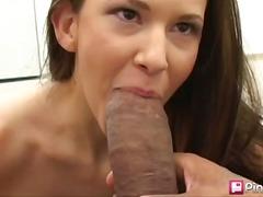 big-cock, brunette, blowjob, interracial, babe