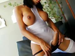 große brüste, rasiert, masturbationen, seidenstrümpfe, solo, brünette