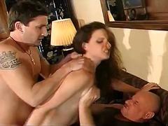 brunette, ass, blowjob, sucking, big-dick, anal, amateur, hardcore, 3some