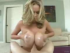 titjob, big-tits, handjob, blonde, oil, nipples, babe, milf