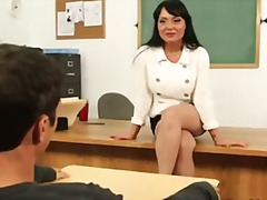 brunette, school, first, professor, teacher, busty, student