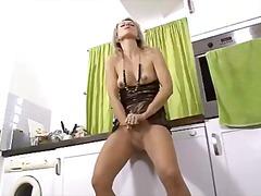 tease, masturbation, blonde, pantyhose, ass