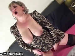 wife, mature, solo, older, toys, masturbation, dildo, stockings, amateur