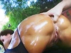 milf, busty, butt, outdoors, pornstar, blowjob, babe, oil, ass