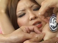 threesome, asian, toys, fingering, milf, dildo, stockings, wet, busty, vibrator
