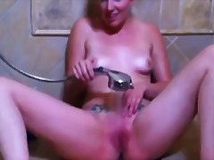 душ, мастурбация, сперма, сливи, баня