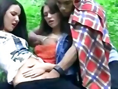 threesome, group, interracia, outdoors, ffm, fingering