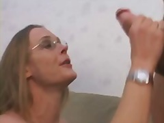 wife, swingers, facial, cuckold, milf, homemade, blonde, glasses