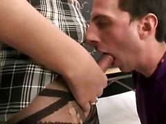 uniform, shemale, tits, sucking, fucking, guy, college, big, anal