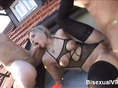 bisexual, hardcore, blowjob, riding, threesome, blonde, mmf