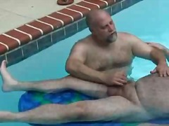 outdoors, handjob, fat, mature, bear
