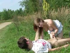 hardcore, couple, outdoors, doggystyle, brunette, teen