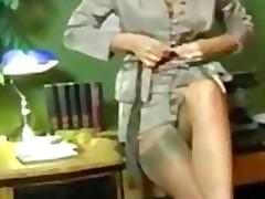secretary, office, retro, nylons, hottie, masturbation, classic, solo, brunette
