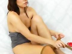 tight, internal, cunnilingus, close, solo, pussy, juicy, insertion, pantyhose, shaved