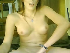 stroking, shemale, redhead, solo, big, big ass, handjob, webcam, jerking, cumshot