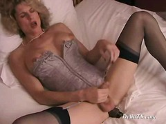 milf, vibrator, sexspielzeug, dildo, lingerie, spielzeug, solo, blond, strapon, shemale