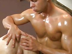 olie, flotte mænd, gabende røvhul, dobbelt penetration, pik, ejakulation, onani, kæmpepik