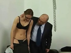 humiliation, uniform, glasses, squirt, foot fetish, tattoo, heels, spank, mistress, domination