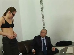 kinky, wanking, glasses, tattoo, foot fetish, uniform, heels, spank, oil, domination
